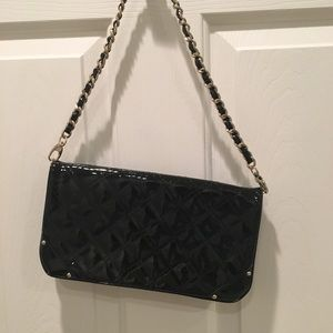 Black Patent Leather Clutch with Strap